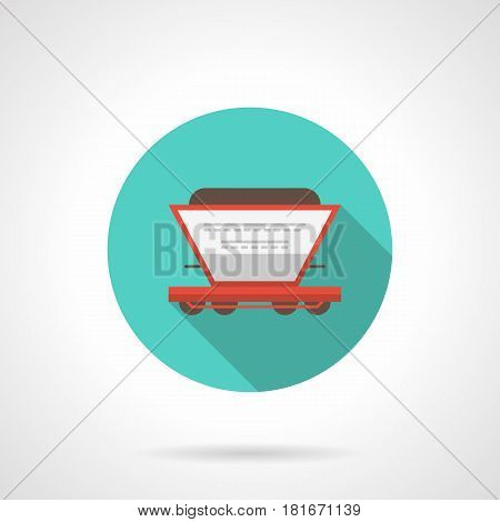 A side view of white grain hopper on red platform. Railroad transportation concept Round flat design blue vector icon, long shadow.