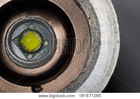 LED flashlight close-up in an iron frame and reflector