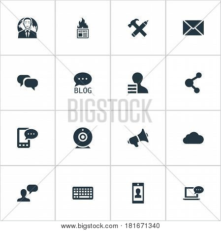 Vector Illustration Set Of Simple Blogging Icons. Elements Man Considering, Gossip, Profile And Other Synonyms Gain, Loudspeaker And Keypad.