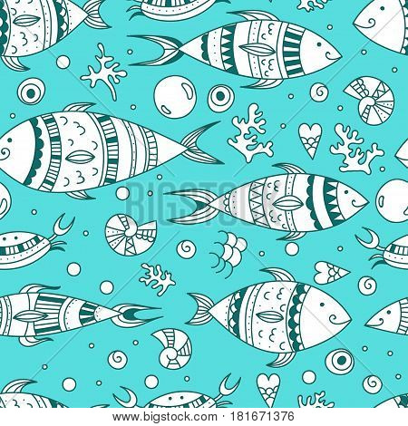 Seamless pattern with doodle sea elements. Vector illustration zen art fishes coral bubble and shells