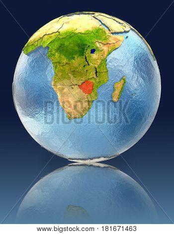 Zimbabwe On Globe With Reflection