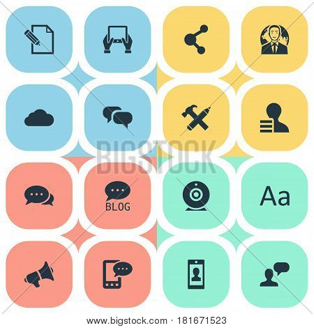 Vector Illustration Set Of Simple Blogging Icons. Elements International Businessman, Loudspeaker, Overcast And Other Synonyms Cedilla, Considering And Alphabet.