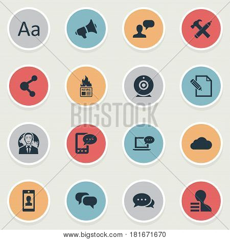 Vector Illustration Set Of Simple Newspaper Icons. Elements Repair, Argument, Laptop And Other Synonyms Share, Megaphone And Negotiation.