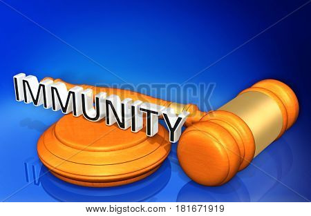Immunity Legal Gavel Concept 3D Illustration