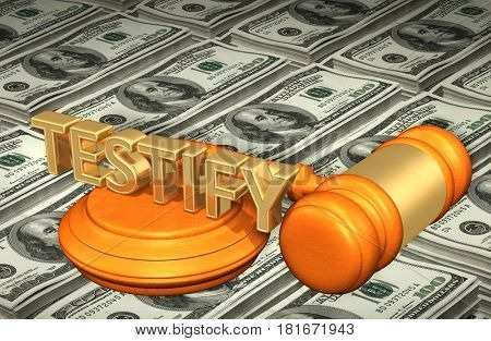 Testify Legal Gavel Concept 3D Illustration