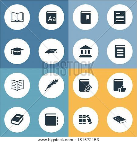 Vector Illustration Set Of Simple Education Icons. Elements Academic Cap, Sketchbook, Library And Other Synonyms Encyclopedia, Bookmark And Recommended.