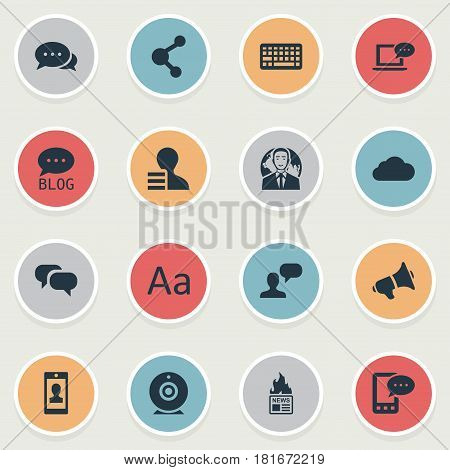 Vector Illustration Set Of Simple User Icons. Elements Gazette, Man Considering, Gossip And Other Synonyms Gossip, Hot And Argument.
