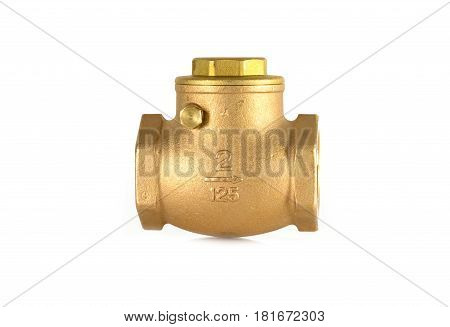 Check valve on white background. chack valve is inserted into the pipe to prevent the reverse fiow of water in the pipes.