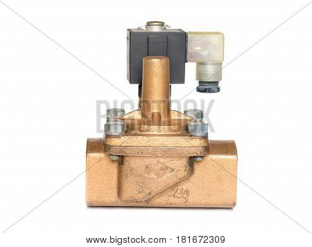 Close up solinoid valve isolated on white background.Electric valve for the plumbing in factory.