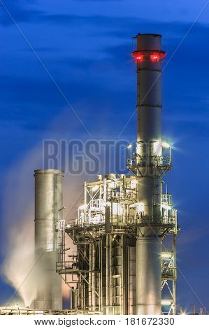 steam power plant with blue hour inThailand