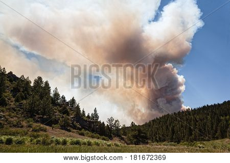 View of the High Park Fire a very large wildfire in Northern Colorado.