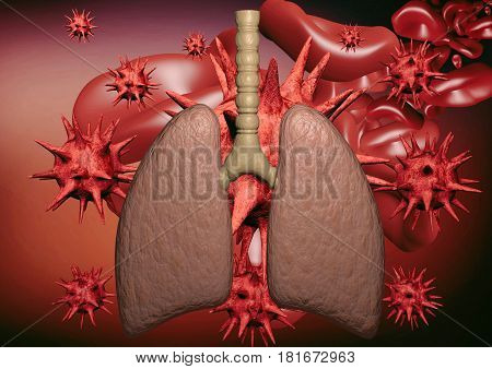 Human lung on laboratory background and science, 3D rendering