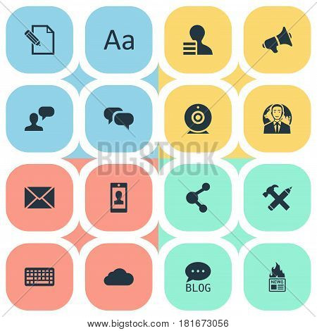 Vector Illustration Set Of Simple Newspaper Icons. Elements Post, Gain, Loudspeaker And Other Synonyms Gossip, Debate And Cedilla.