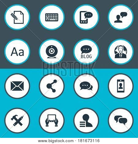Vector Illustration Set Of Simple User Icons. Elements Gossip, Gain, Keypad And Other Synonyms Repair, Profit And Site.