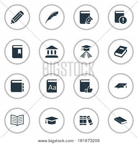 Vector Illustration Set Of Simple Education Icons. Elements Academic Cap, Bookshelf, Notebook And Other Synonyms Book, Building And Bookmark.