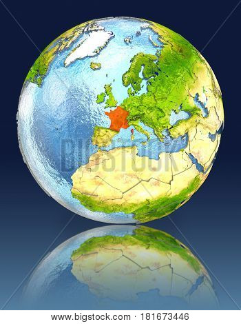 France On Globe With Reflection