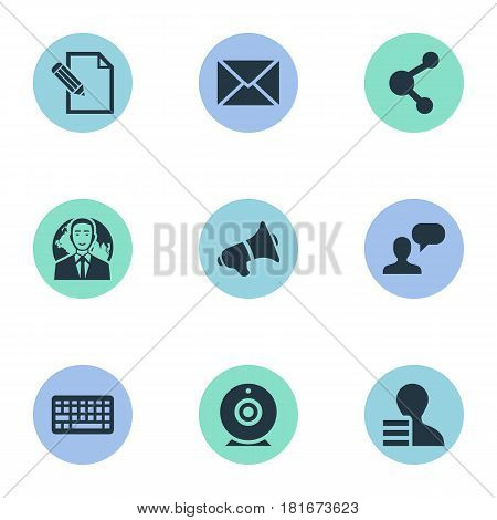 Vector Illustration Set Of Simple Newspaper Icons. Elements Share, Man Considering, Keypad And Other Synonyms Keypad, Broadcast And Pen.