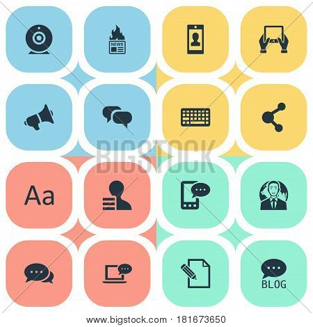 Vector Illustration Set Of Simple Blogging Icons. Elements Gazette, Gain, Share And Other Synonyms Relation, Keypad And Gain.