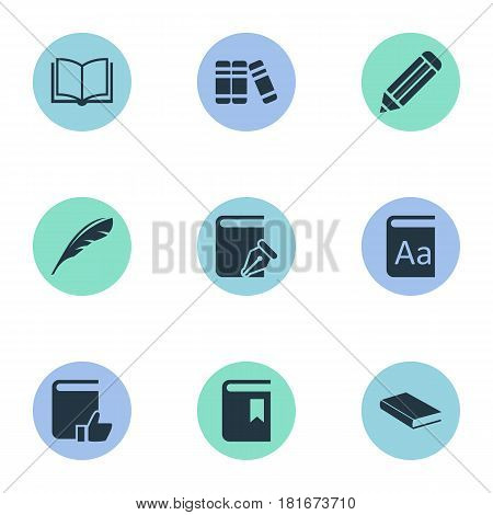 Vector Illustration Set Of Simple Books Icons. Elements Notebook, Blank Notebook, Alphabet And Other Synonyms Bookmark, Notebook And Dictionary.