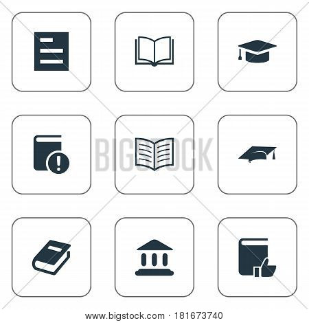 Vector Illustration Set Of Simple Books Icons. Elements Book Page, Important Reading, Academic Cap And Other Synonyms Academic, Book And Hat.