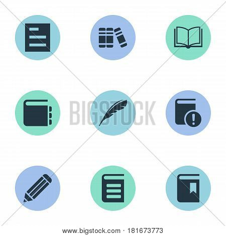 Vector Illustration Set Of Simple Reading Icons. Elements Important Reading, Book Cover, Pen And Other Synonyms Pen, Bookmark And Blank.