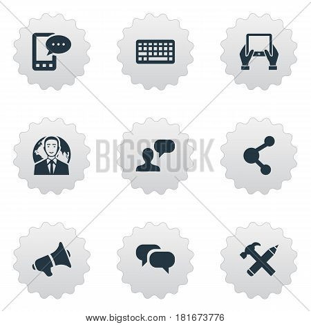 Vector Illustration Set Of Simple Blogging Icons. Elements Loudspeaker, Man Considering, Notepad And Other Synonyms Conversation, Keyboard And Considering.