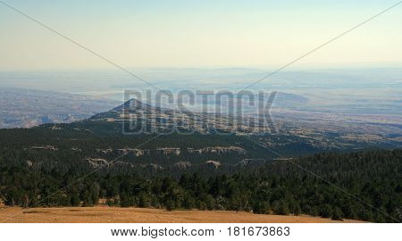 Bighorn Canyon National Recreation Area as seen from Sykes Ridge in the Pryor Mountains on the Montana Wyoming state line USA
