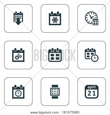 Vector Illustration Set Of Simple Plan Icons. Elements Deadline, Almanac, Intelligent Hour And Other Synonyms Time, April And Reminder.