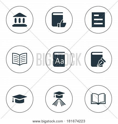 Vector Illustration Set Of Simple Books Icons. Elements Alphabet, Library, Sketchbook And Other Synonyms Reading, Favored And Note.