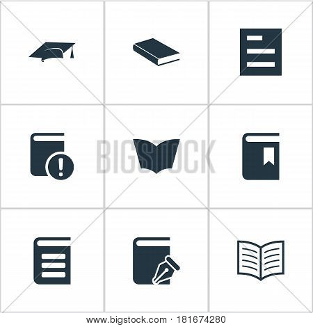 Vector Illustration Set Of Simple Knowledge Icons. Elements Academic Cap, Book Cover, Sketchbook And Other Synonyms Document, Graduation And Textbook.