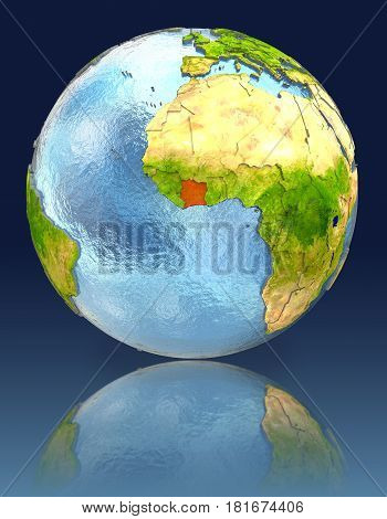 Ivory Coast On Globe With Reflection