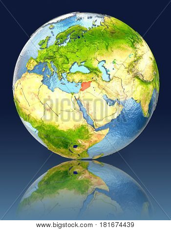 Syria On Globe With Reflection