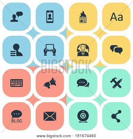 Vector Illustration Set Of Simple Blogging Icons. Elements Broadcast, Argument, Post And Other Synonyms Man, Broadcast And Pencil.