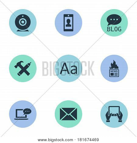 Vector Illustration Set Of Simple Newspaper Icons. Elements Cedilla, Site, Notepad And Other Synonyms Smartphone, Hammer And Hot.