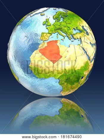 Algeria On Globe With Reflection