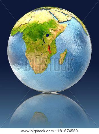 Malawi On Globe With Reflection