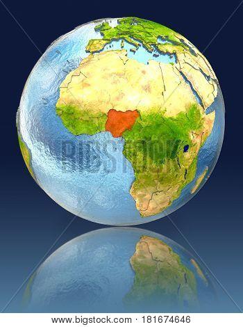 Nigeria On Globe With Reflection