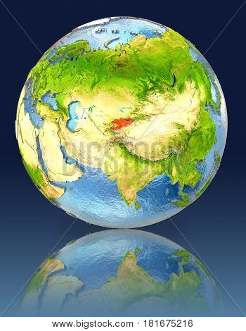 Kyrgyzstan On Globe With Reflection