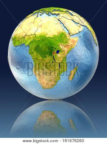 Rwanda On Globe With Reflection