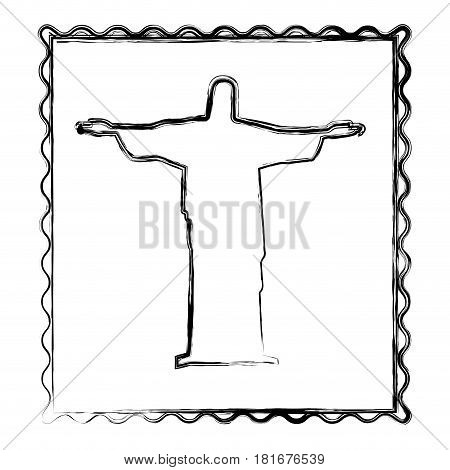 blurred silhouette frame of christ redeemer vector illustration