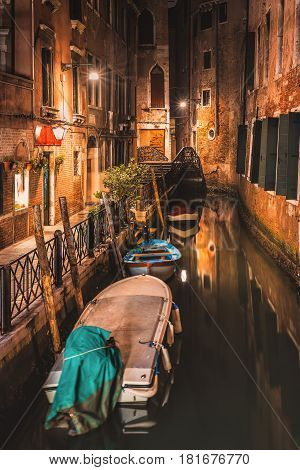 One of the beautiful alley discovered on night walk through Venice