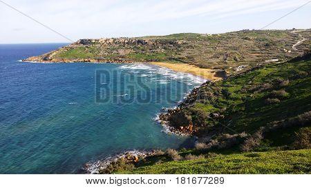 Ramla beach - The red sand beach at Gozo island, Malta