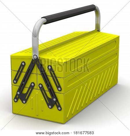 Tool box. Closed yellow tool box on a white surface. Isolated. 3D Illustration