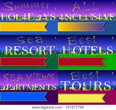 Cards for travel buisness. Artistic font. Summer holidays. All inclusive. Sea resort. Sea views apartments. Best tours. Best hotels. White houses on the night beach. Stars in the sky. Illustration.