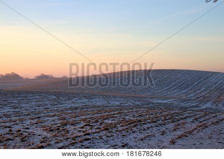Reddish tinge in the snow at sunrise so lovely