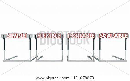 Simple Flexible Portable Scalable Hurdles Words 3d Illustration