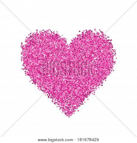 Glitter pink heart. Cute symbol of Valentines Day. Romantic concept. Love sign. Vector illustration for cards, posters, banners, wedding design invitations. Isolated on white background.