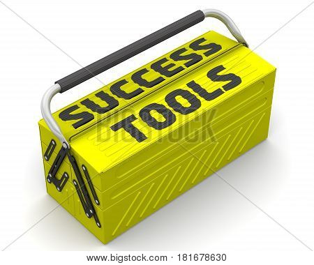 Success tools. Closed yellow tool box on a white surface with text