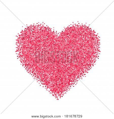 Glitter red heart. Cute symbol of Valentines Day. Romantic concept. Love sign. Vector illustration for cards, posters, banners, wedding design invitations. Isolated on white background.