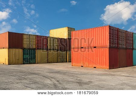 Handling stack of container shipping, Transportation business.